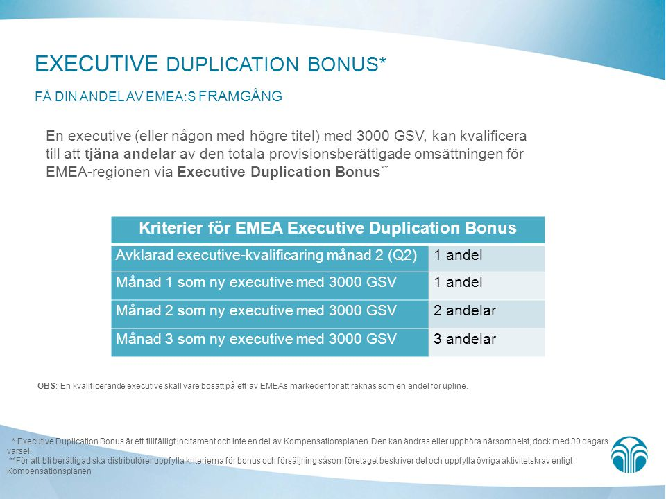 EXECUTIVE DUPLICATION BONUS* FÅ DIN ANDEL AV EMEA:s framgång