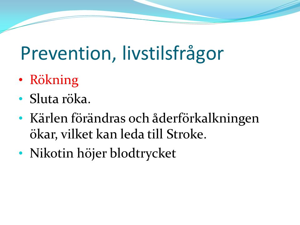 Prevention, livstilsfrågor