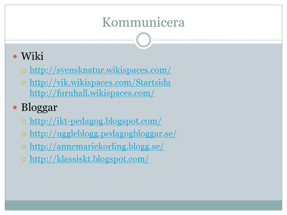 Kommunicera Wiki Bloggar http://svensknatur.wikispaces.com/