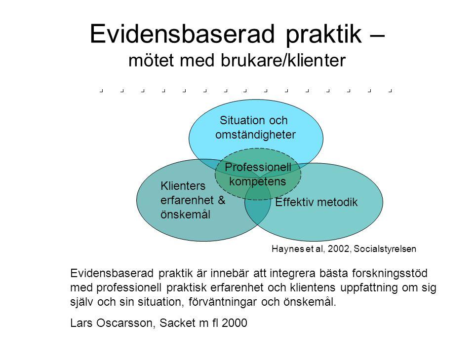 Evidensbaserad praktik – mötet med brukare/klienter