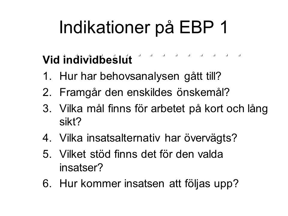 Indikationer på EBP 1 Vid individbeslut