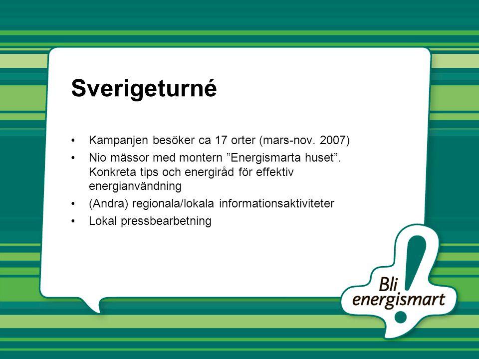 Sverigeturné Kampanjen besöker ca 17 orter (mars-nov. 2007)