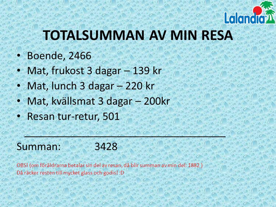 TOTALSUMMAN AV MIN RESA