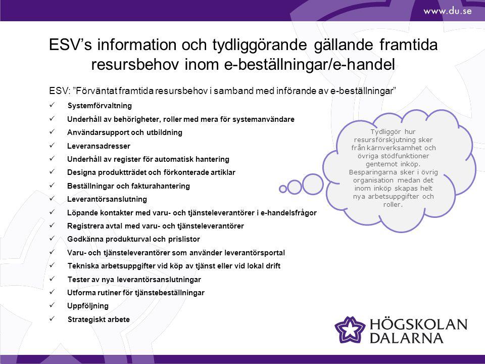 ESV's information och tydliggörande gällande framtida resursbehov inom e-beställningar/e-handel