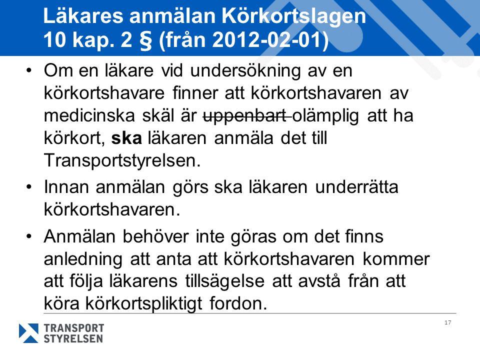 Läkares anmälan Körkortslagen 10 kap. 2 § (från 2012-02-01)