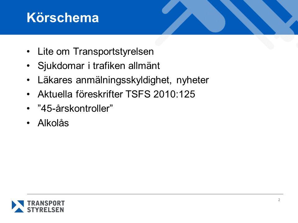 Körschema Lite om Transportstyrelsen Sjukdomar i trafiken allmänt