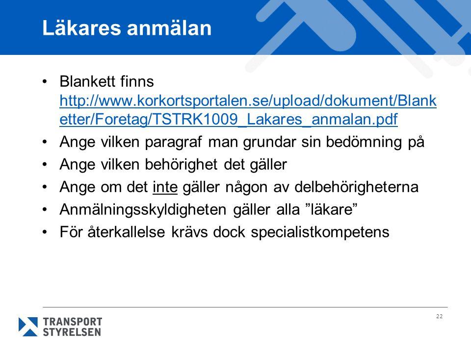 Läkares anmälan Blankett finns http://www.korkortsportalen.se/upload/dokument/Blanketter/Foretag/TSTRK1009_Lakares_anmalan.pdf.