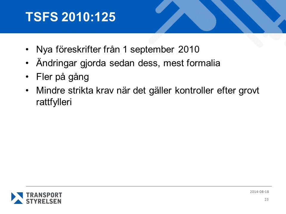 TSFS 2010:125 Nya föreskrifter från 1 september 2010