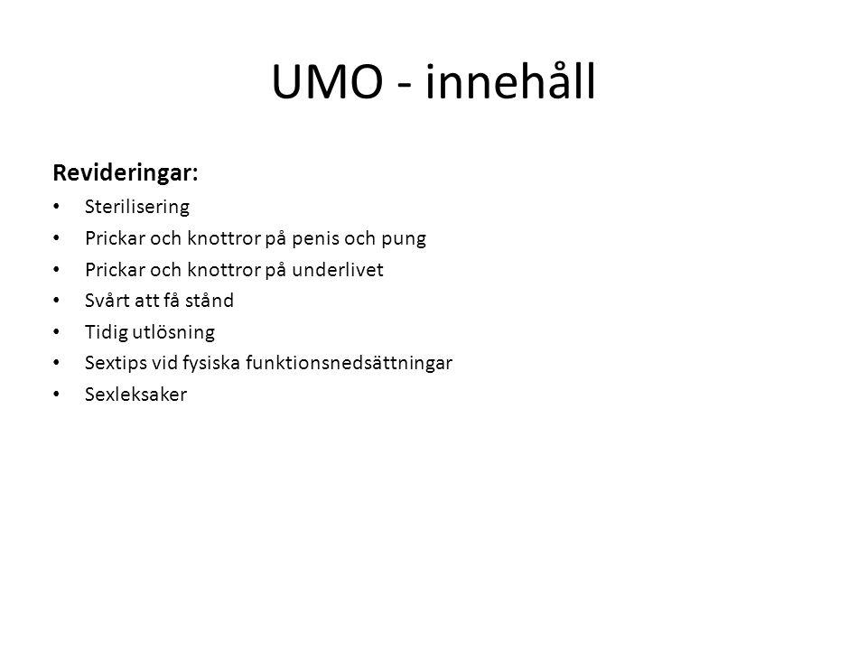 UMO - innehåll Revideringar: Sterilisering