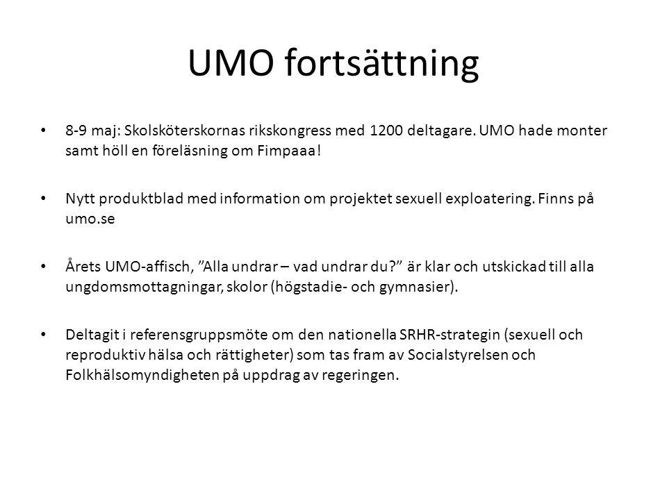 UMO fortsättning 8-9 maj: Skolsköterskornas rikskongress med 1200 deltagare. UMO hade monter samt höll en föreläsning om Fimpaaa!