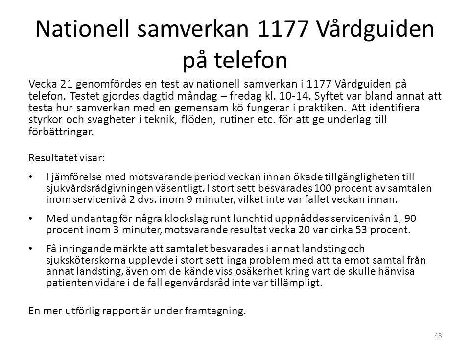 Nationell samverkan 1177 Vårdguiden på telefon