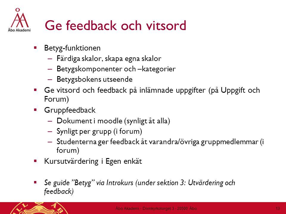 Ge feedback och vitsord