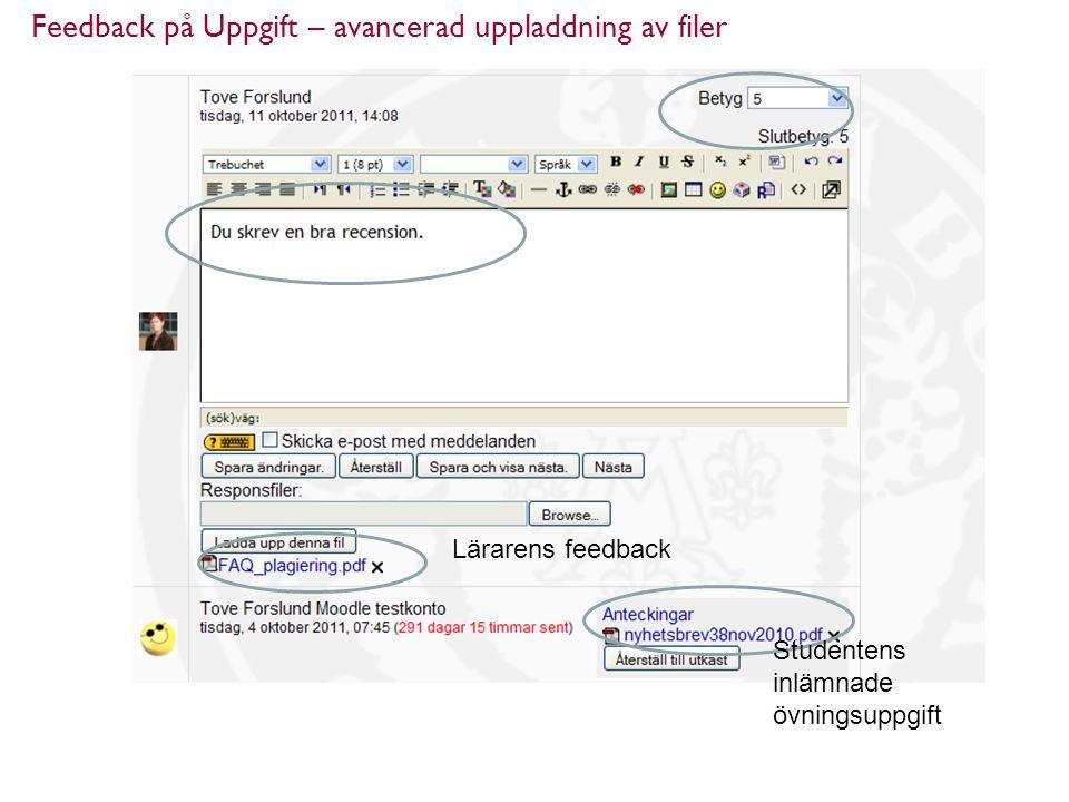 Feedback på Uppgift – avancerad uppladdning av filer