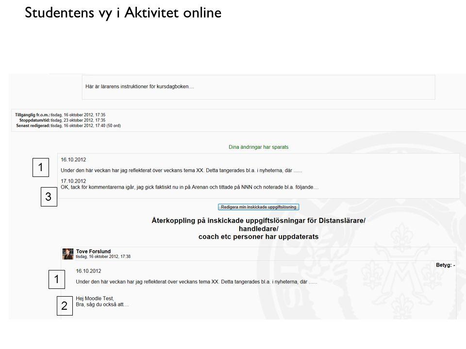 Studentens vy i Aktivitet online