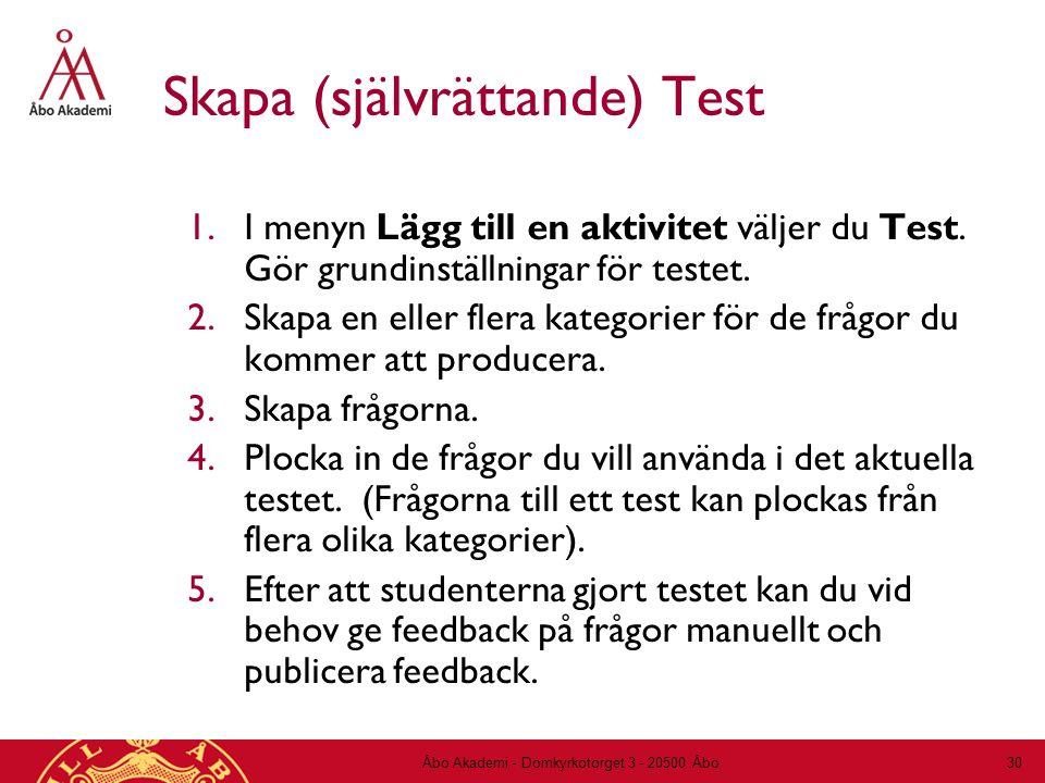 Skapa (självrättande) Test