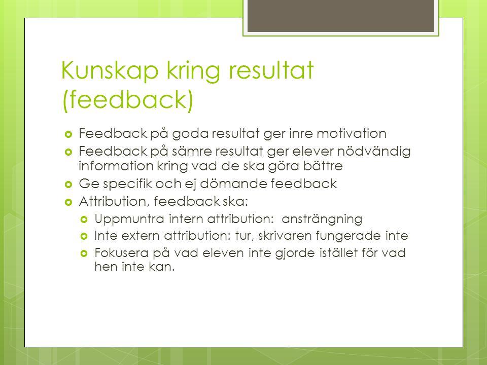 Kunskap kring resultat (feedback)