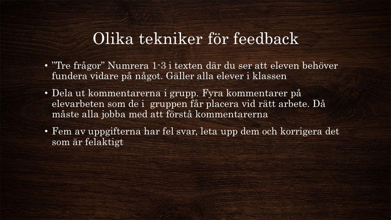 Olika tekniker för feedback