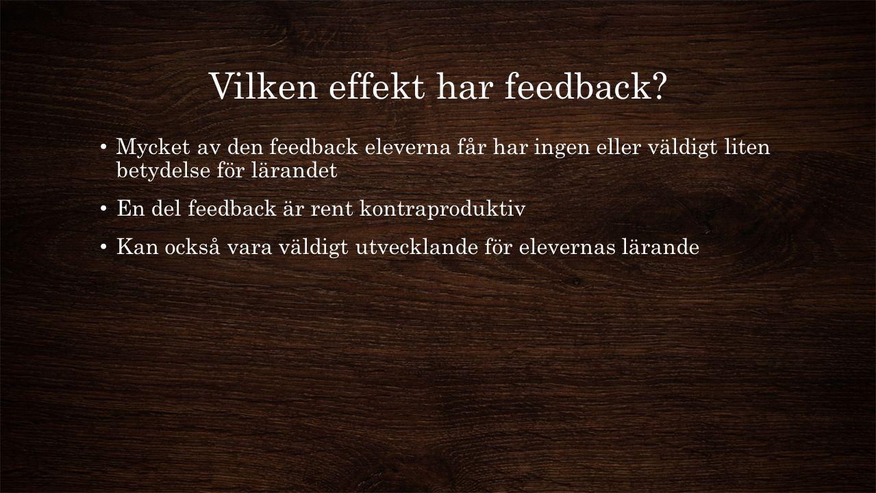 Vilken effekt har feedback