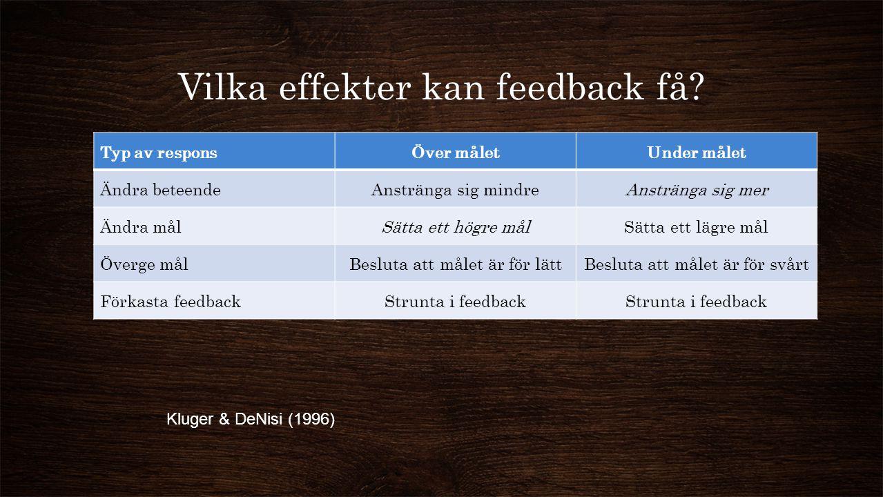 Vilka effekter kan feedback få
