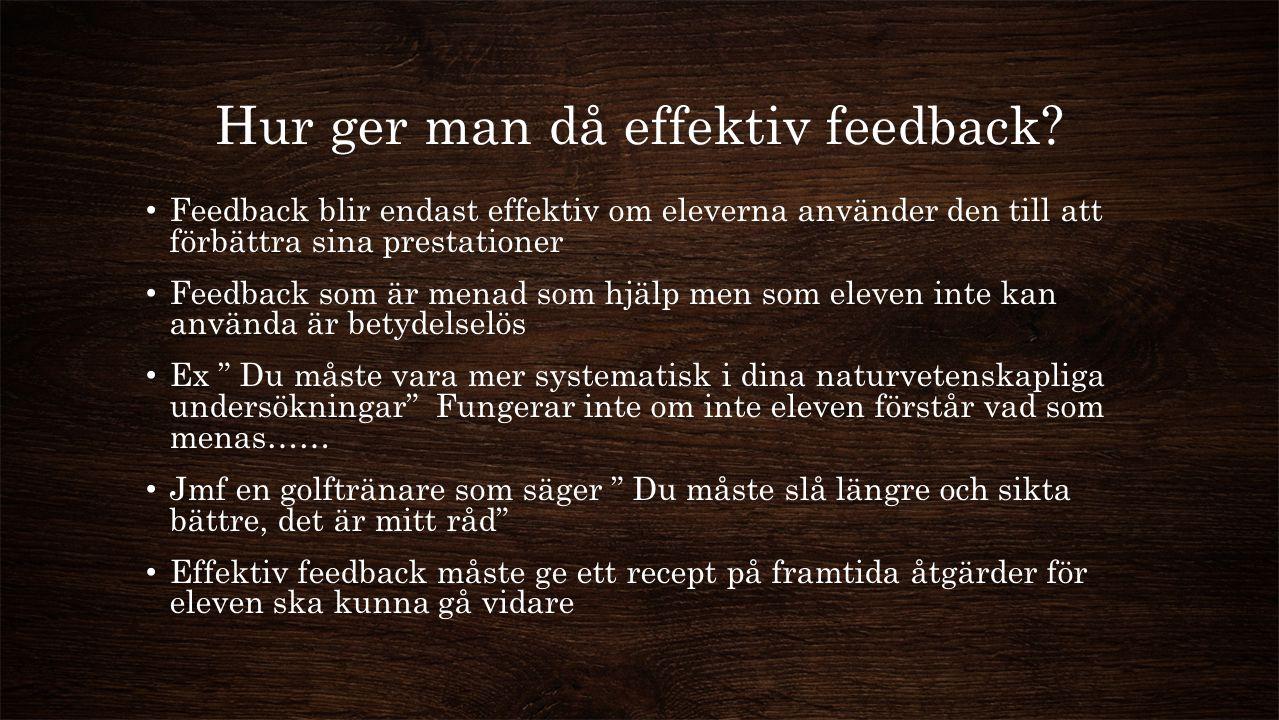Hur ger man då effektiv feedback