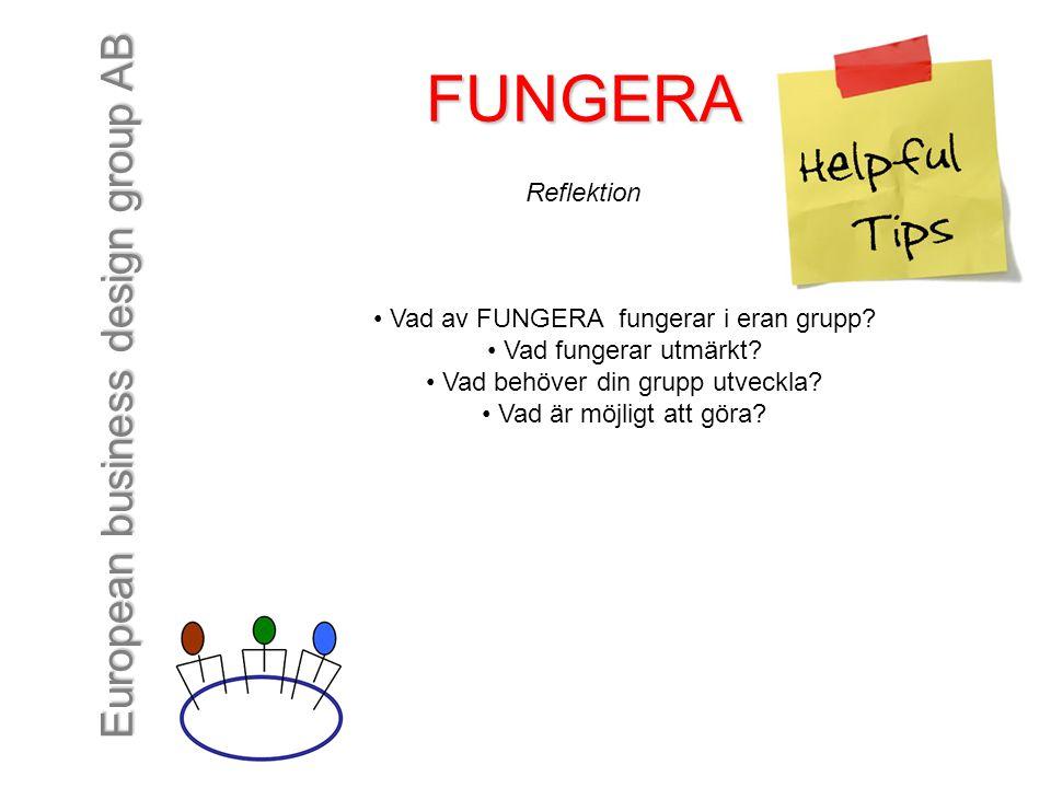 FUNGERA Reflektion Vad av FUNGERA fungerar i eran grupp