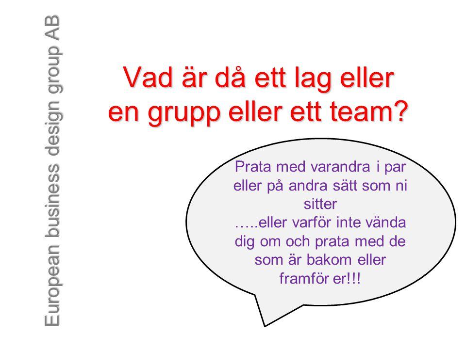 Vad är då ett lag eller en grupp eller ett team