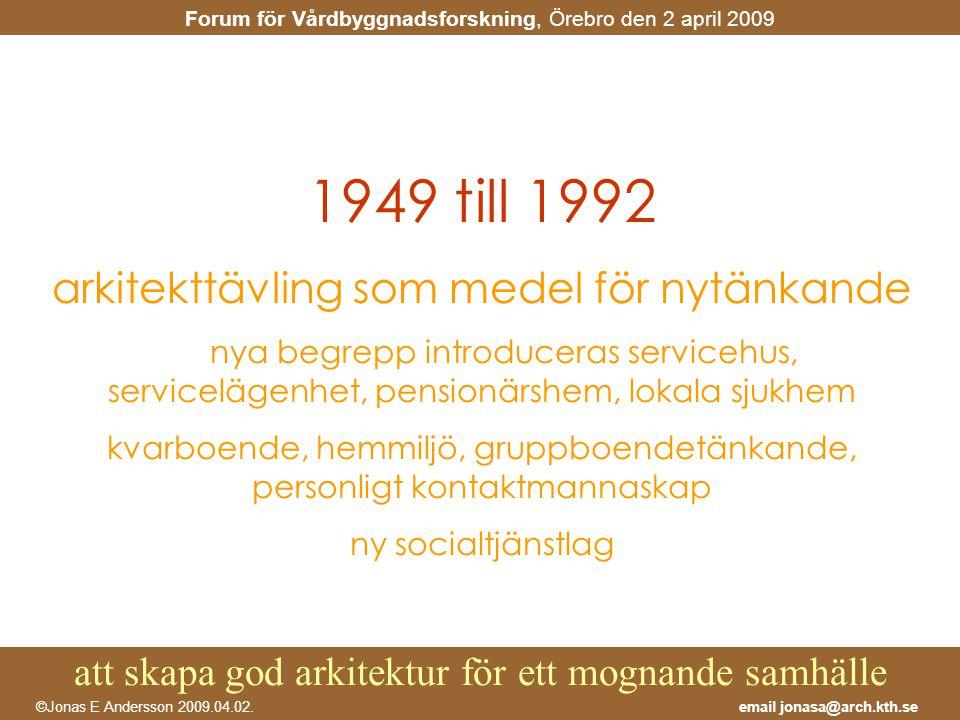 1949 till 1992 arkitekttävling som medel för nytänkande