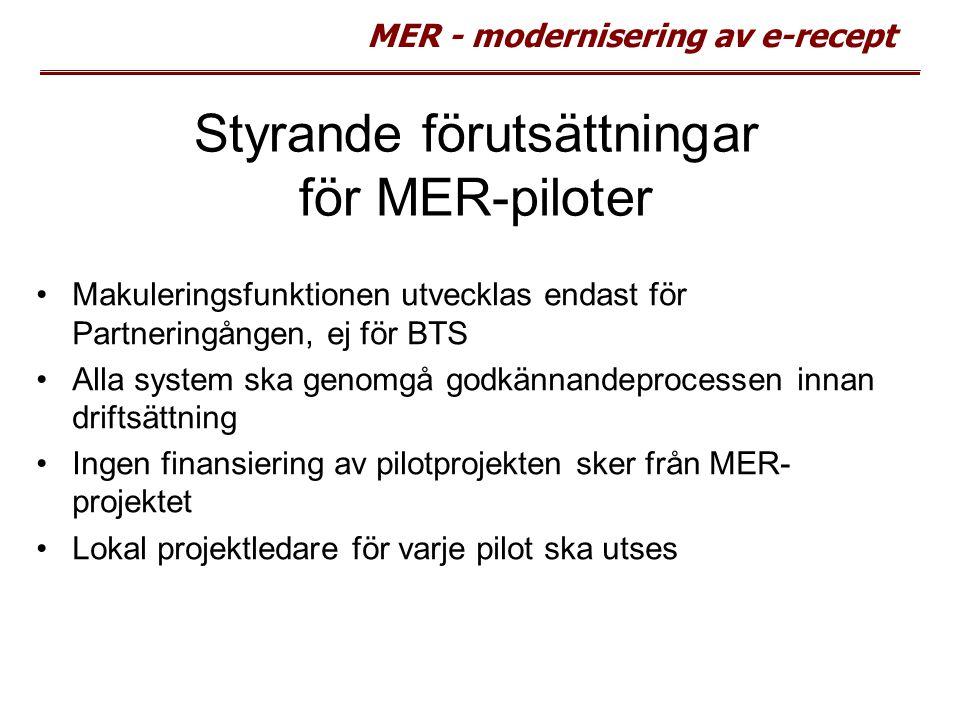 Styrande förutsättningar för MER-piloter