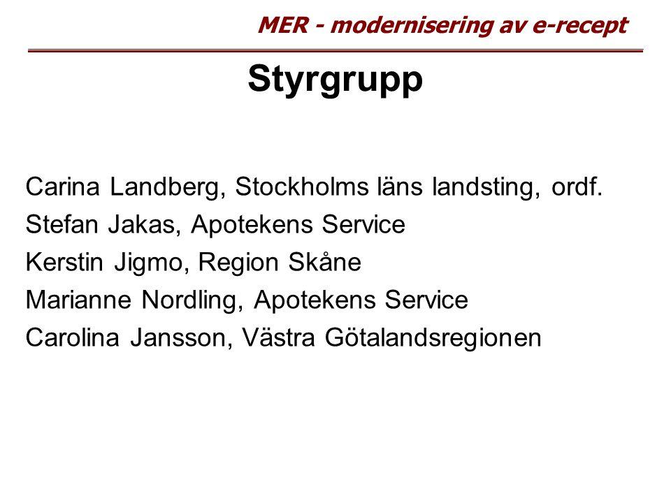 Styrgrupp Carina Landberg, Stockholms läns landsting, ordf.