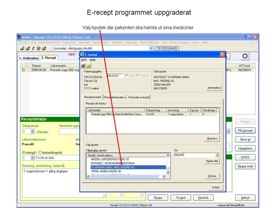 E-recept programmet uppgraderat