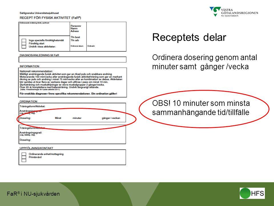 Receptets delar Ordinera dosering genom antal minuter samt gånger /vecka.