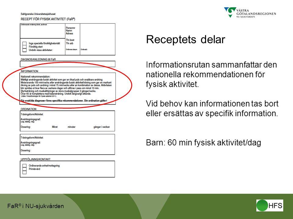 Receptets delar Informationsrutan sammanfattar den nationella rekommendationen för fysisk aktivitet.
