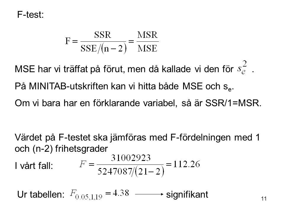 F-test: MSE har vi träffat på förut, men då kallade vi den för . På MINITAB-utskriften kan vi hitta både MSE och se.
