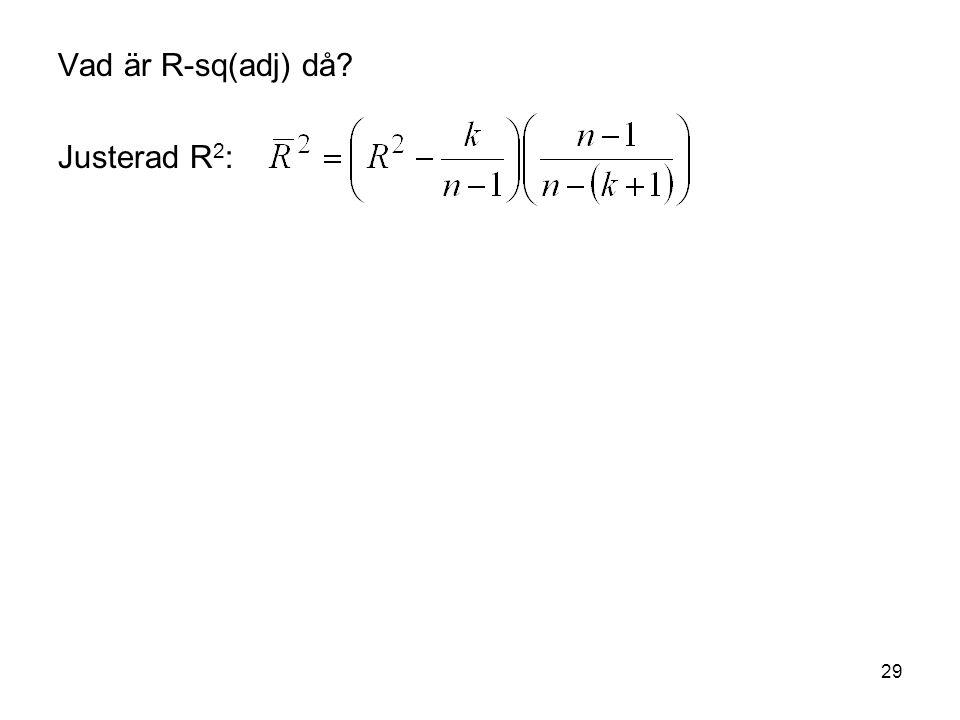 Vad är R-sq(adj) då Justerad R2: