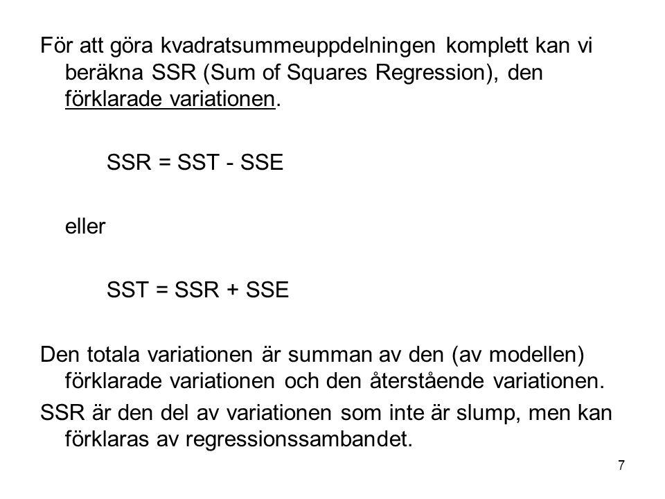 För att göra kvadratsummeuppdelningen komplett kan vi beräkna SSR (Sum of Squares Regression), den förklarade variationen.