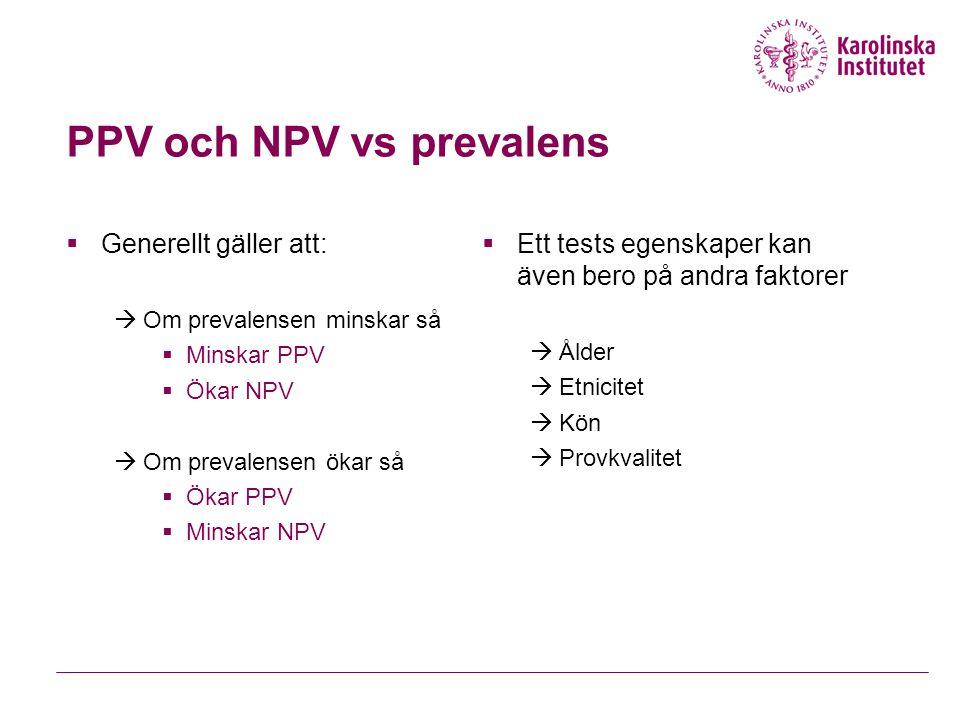 PPV och NPV vs prevalens