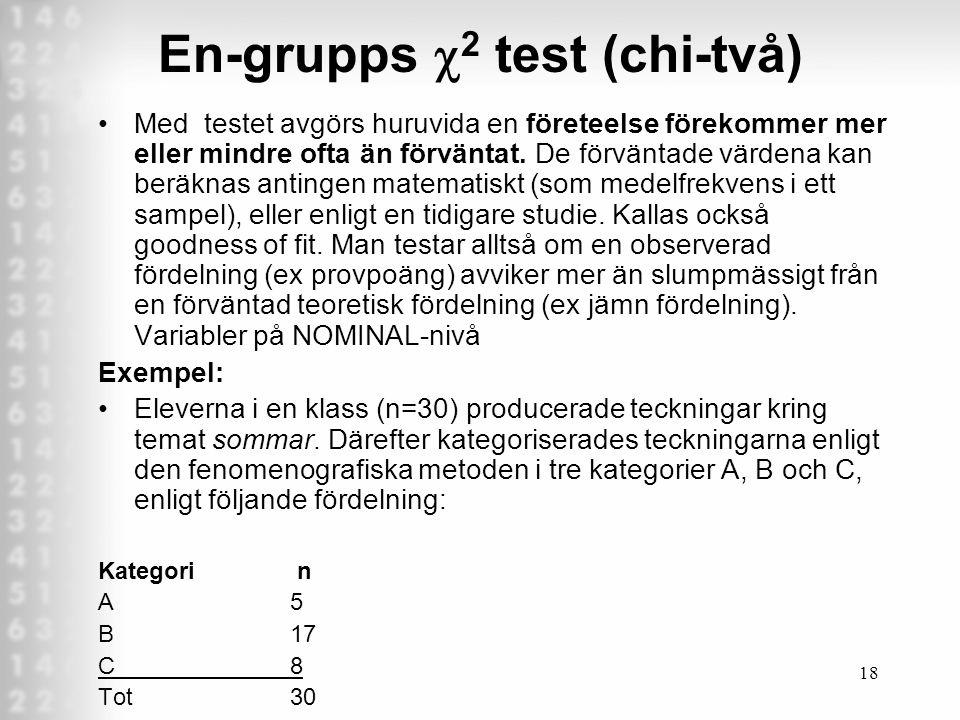 En-grupps c2 test (chi-två)