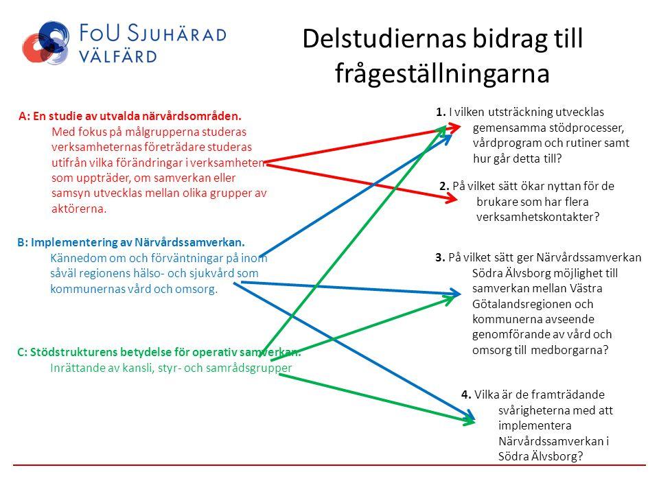 Delstudiernas bidrag till frågeställningarna