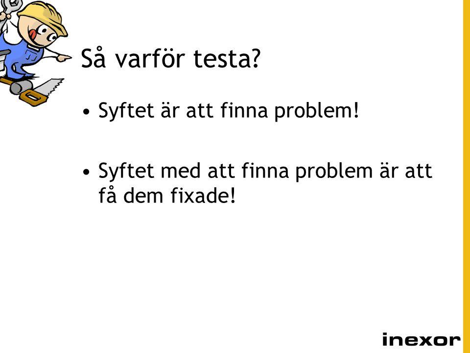 Så varför testa Syftet är att finna problem!