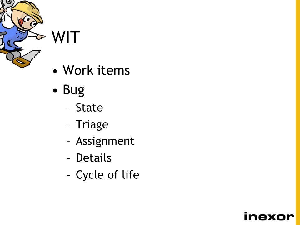 WIT Work items Bug State Triage Assignment Details Cycle of life