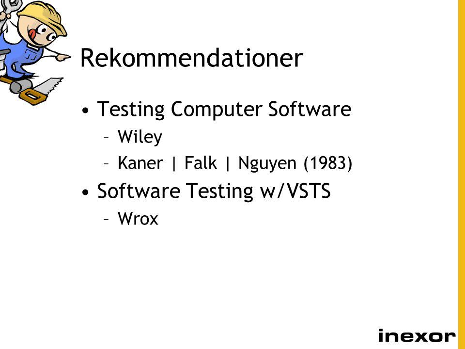 Rekommendationer Testing Computer Software Software Testing w/VSTS