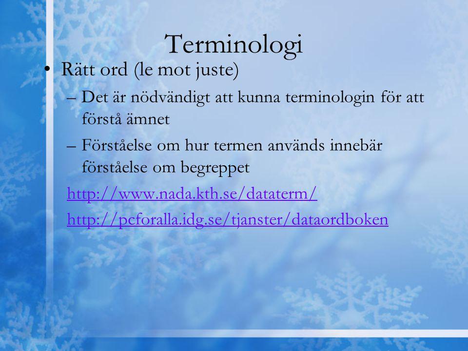 Terminologi Rätt ord (le mot juste)