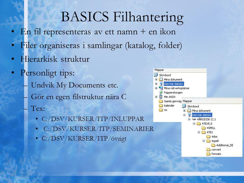 BASICS Filhantering En fil representeras av ett namn + en ikon