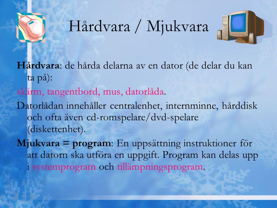 Hårdvara / Mjukvara Hårdvara: de hårda delarna av en dator (de delar du kan ta på): skärm, tangentbord, mus, datorlåda.