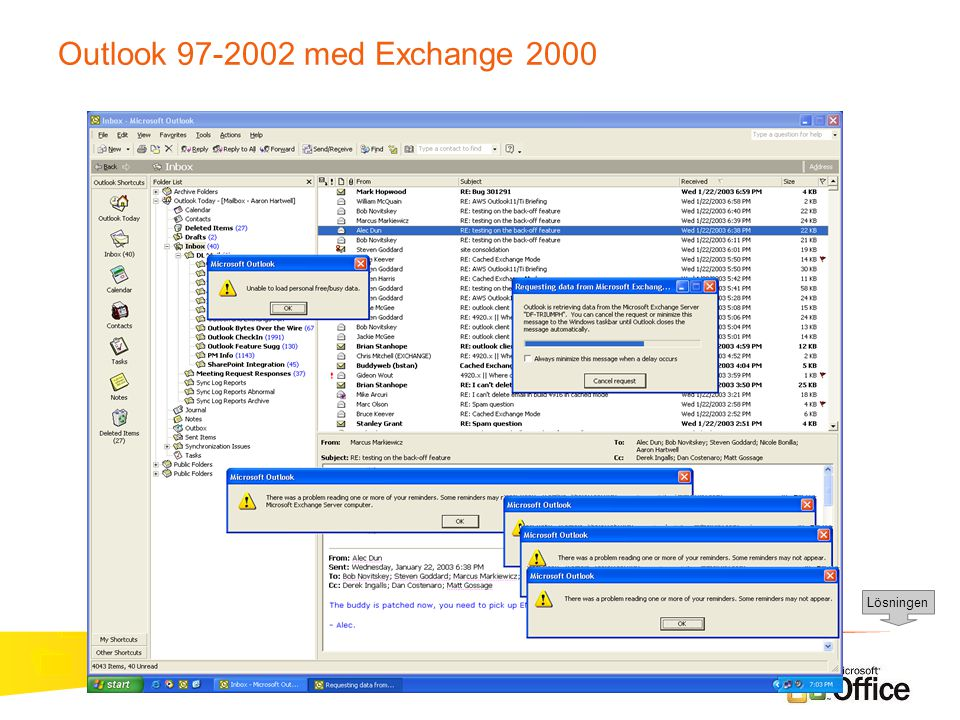 Outlook 97-2002 med Exchange 2000 Lösningen