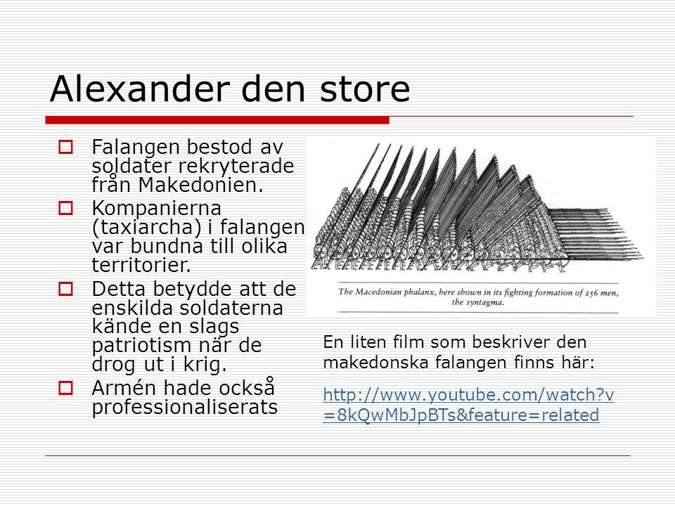 Alexander den store Falangen bestod av soldater rekryterade från Makedonien. Kompanierna (taxiarcha) i falangen var bundna till olika territorier.