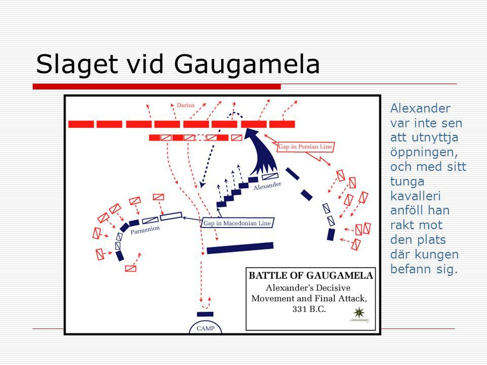 Slaget vid Gaugamela Alexander var inte sen att utnyttja öppningen, och med sitt tunga kavalleri anföll han rakt mot den plats där kungen befann sig.