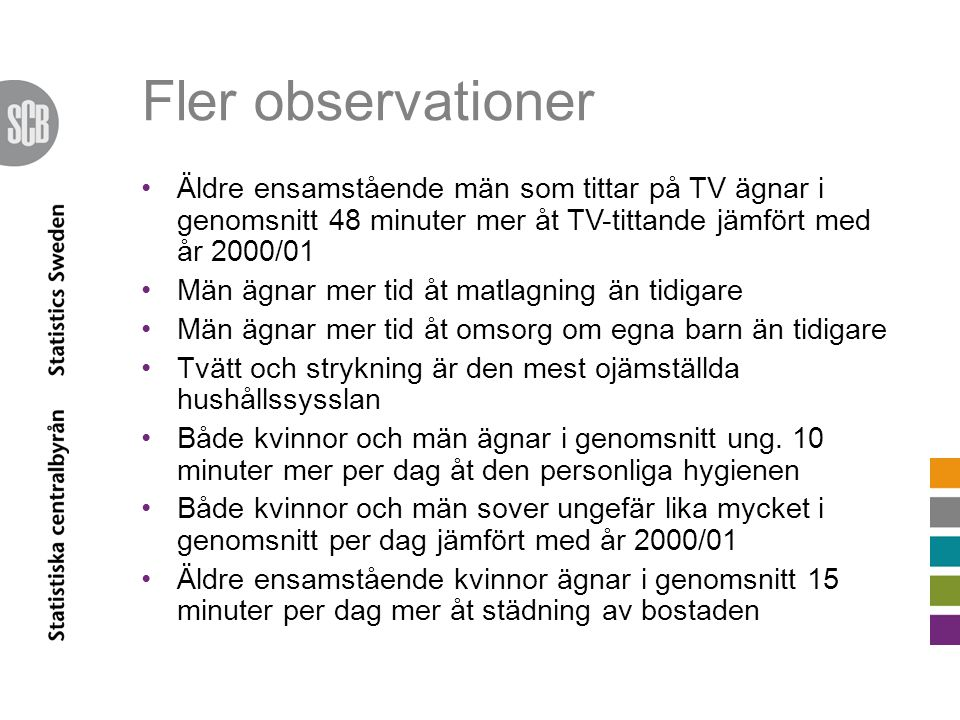 Fler observationer Äldre ensamstående män som tittar på TV ägnar i genomsnitt 48 minuter mer åt TV-tittande jämfört med år 2000/01.
