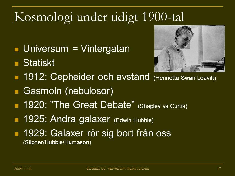 Kosmologi under tidigt 1900-tal
