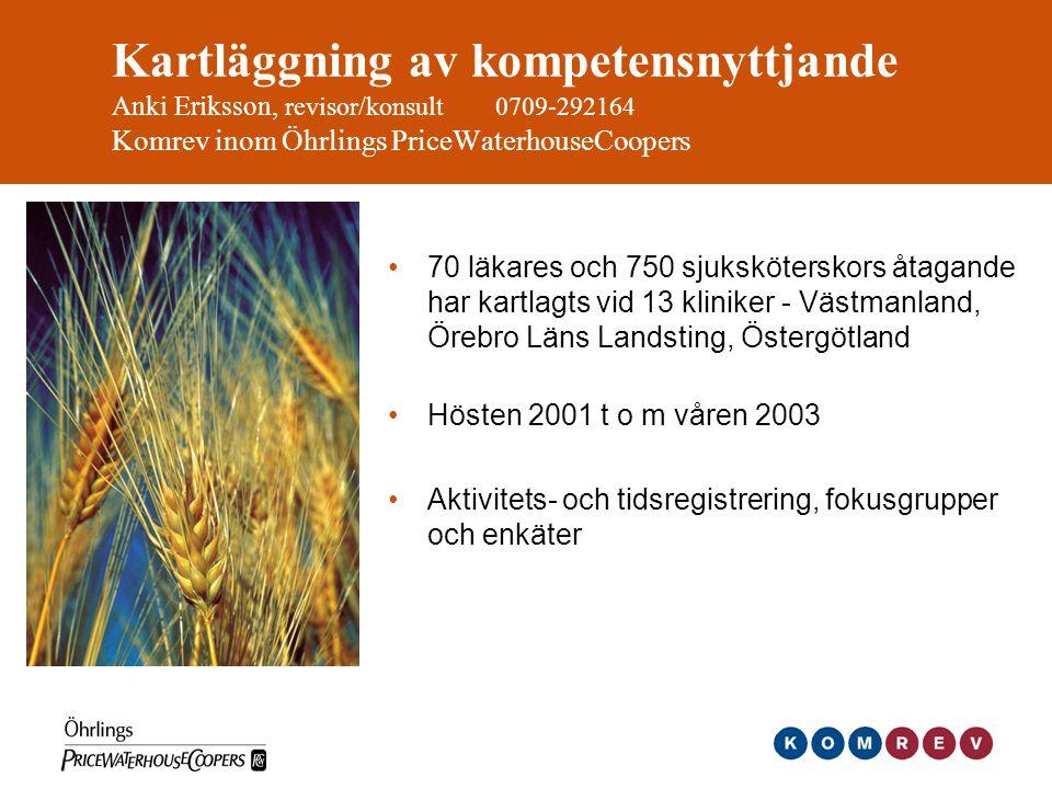 Kartläggning av kompetensnyttjande Anki Eriksson, revisor/konsult 0709-292164 Komrev inom Öhrlings PriceWaterhouseCoopers